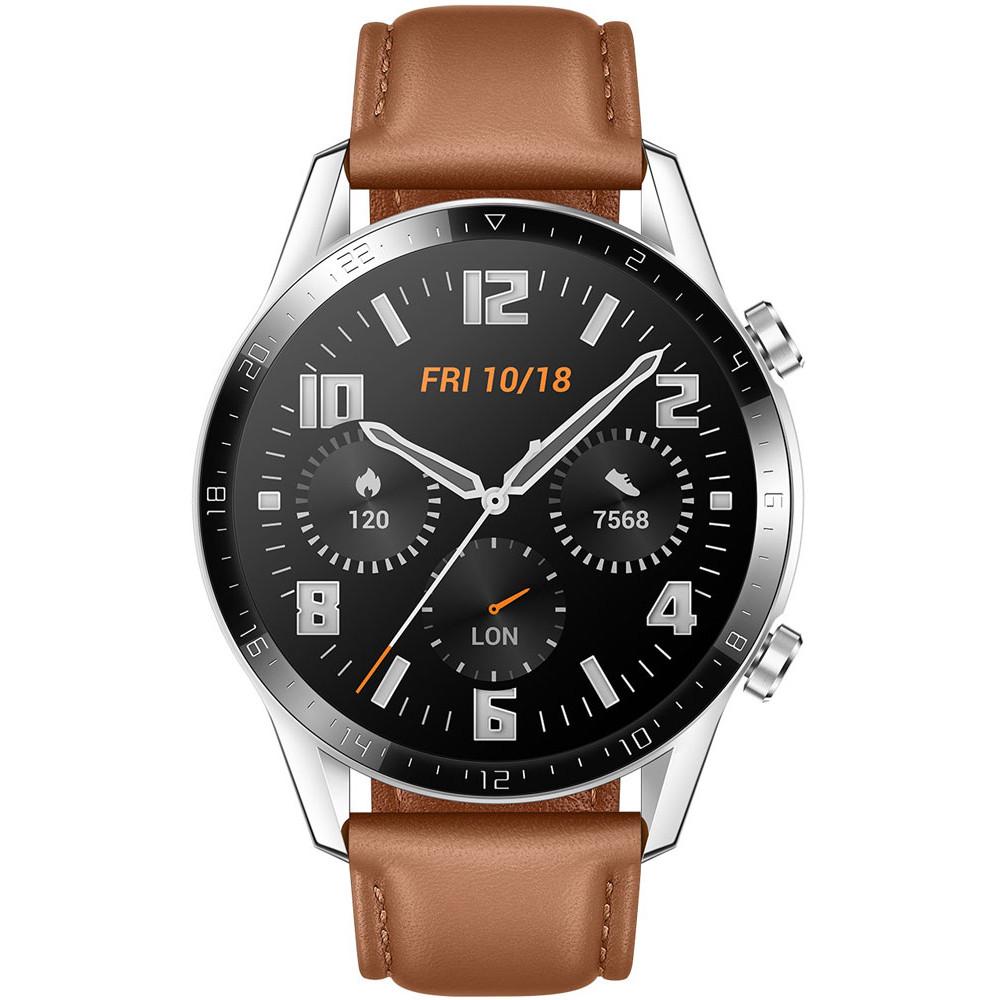 Умные часы HUAWEI Watch GT 2 Classic 46 mm Latona-B19V (коричневый + ремешок черный силиконовый)