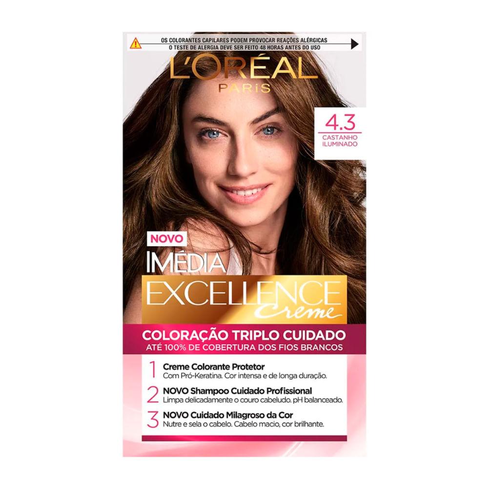 Tintura Creme Imédia Excellence L'oréal Castanho Iluminado 4.3 Kit