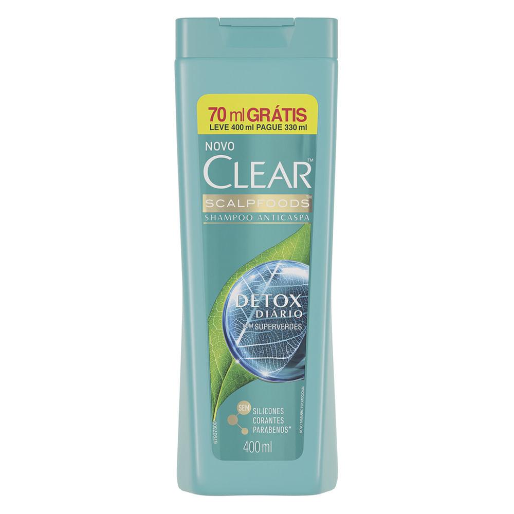 Shampoo Anticaspa Clear Detox Diário Leve 400ml Pague 330ml
