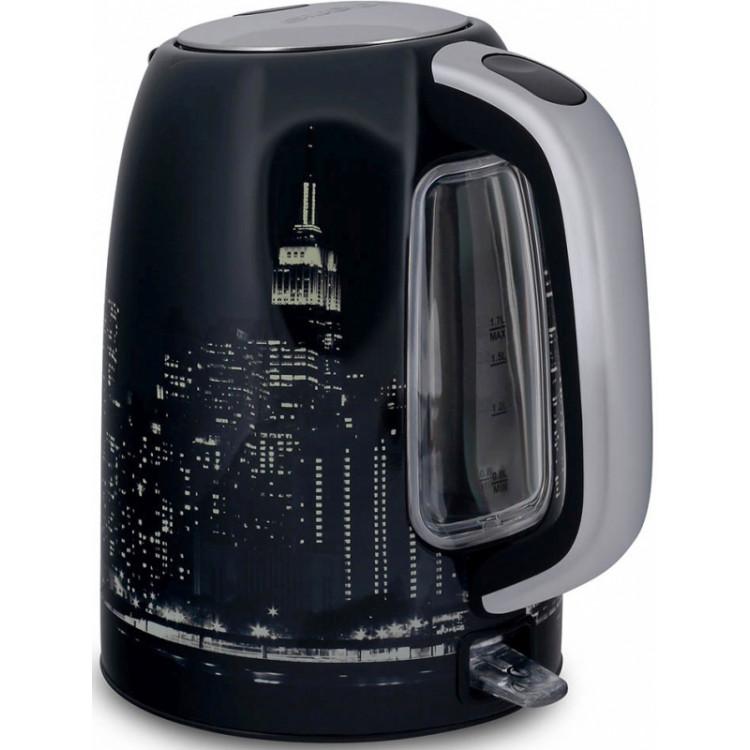 Чайник электрический Polaris PWK 1762CA City 1.7л. 2200Вт черный/рисунок (корпус: нержавеющая сталь)