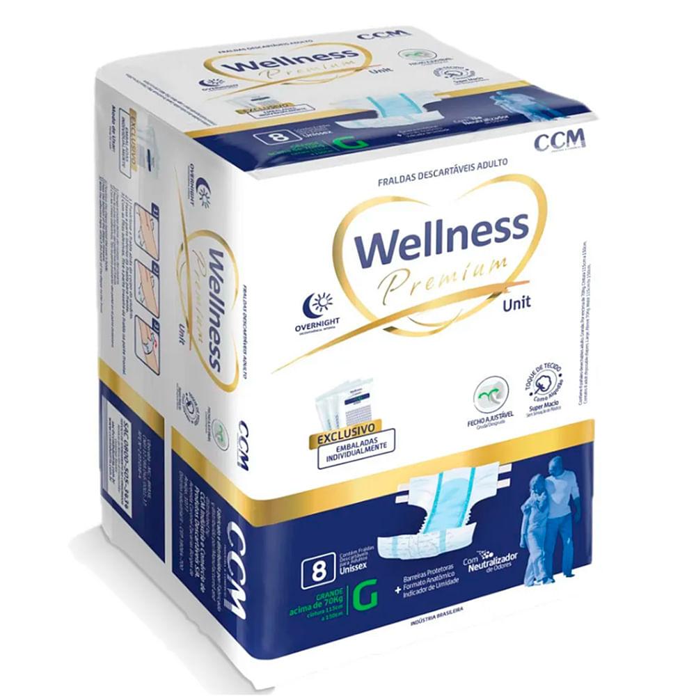 Fralda Geriátrica Wellness Premium Unissex Descartável Tamanho G 8 Unidades