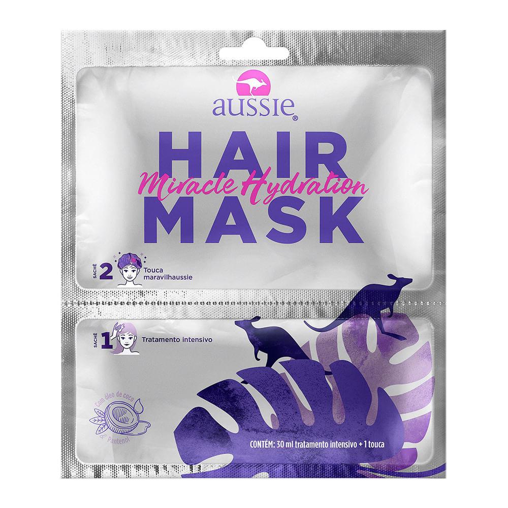 Máscara Capilar Aussie Hair Mask Miracle Hidratação Sachê 30ml + 1 Touca
