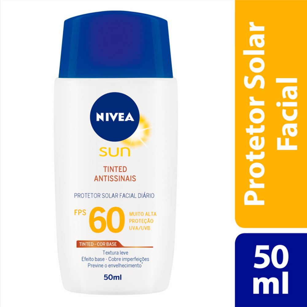 Protetor Solar Facial Nivea Sun Tinted Antissinais FPS 60 Loção com Efeito de Base 50ml