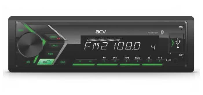 Автомагнитола ACV AVS-814BG 1din/зеленая/Bluetooth/USB/AUX/SD/FM/4*50