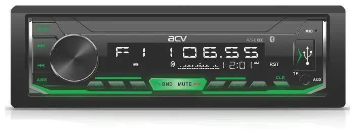 Автомагнитола ACV AVS-816BG 1din/зеленая/Bluetooth/USB/AUX/SD/FM/4*50