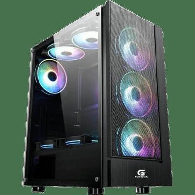Gabinete Gamer Mid Tower Fortrek Cruiser 70569 RGB Com 3 Cooler  Preto Lateral Acrilico