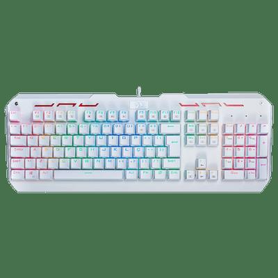 Teclado Gamer Mecânico Varuna RGB REDRAGON K559W-RGB Branco com Switch Otemu Vermelho Padrao ABNT-2