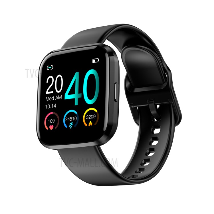 TD09 Sports Men Women Heart Rate Monitor Blood Pressure Touch Screen Smart Watch - Black