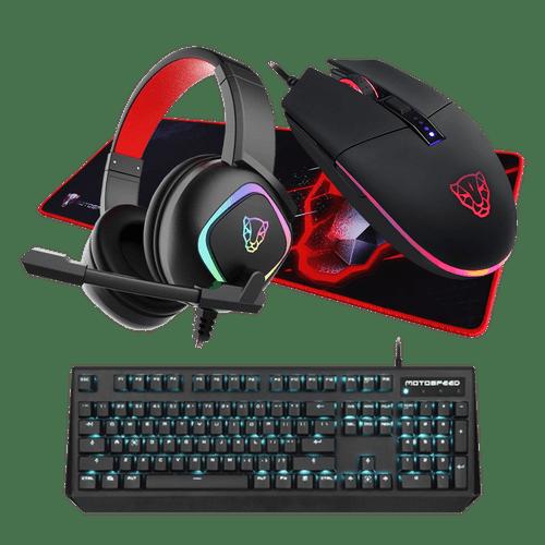 Kit Gamer Motospeed Fantasy Teclado CK95+Mouse V50+Headset G750 7.1+Mousepad P60