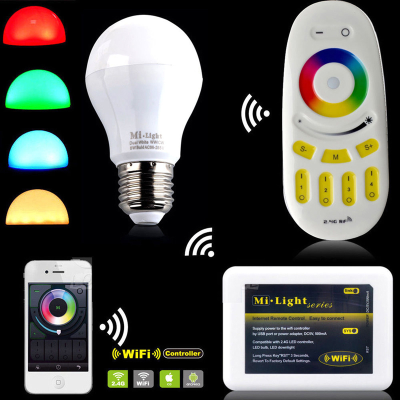 Milight 2.4G wireless E27 6W RGBW LED spotlight Dimmable Bulb...