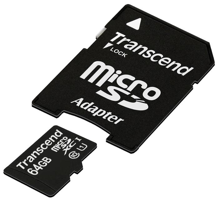 Карта памяти Transcend Micro SDHC Card 64GB class10 U1 w/adapter (TS64GUSDU1)