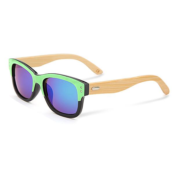 UV400 Unisex Bamboo Legs Rivet Sunglasses Mirror Color Frame Wooden Eyewear Glasses