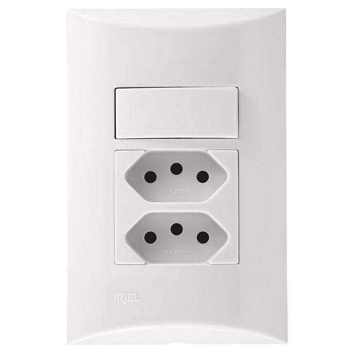 Interruptor Simples + Tomada Dupla Conjunto Iriel Brava Novo Padrão, 4x2, Branco