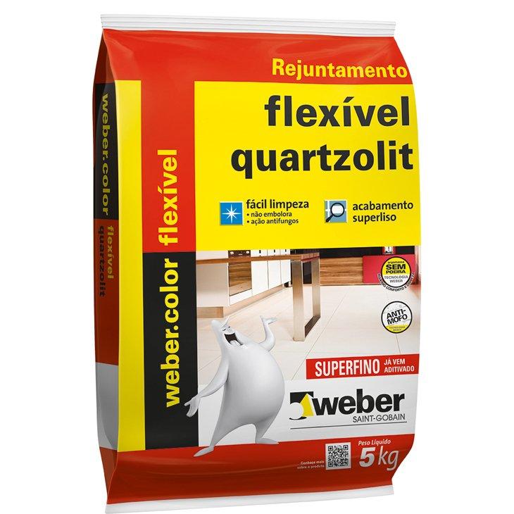 Rejunte Flexível com Impermeabilizante Quartzolit Cinza Platina, 5 Kg
