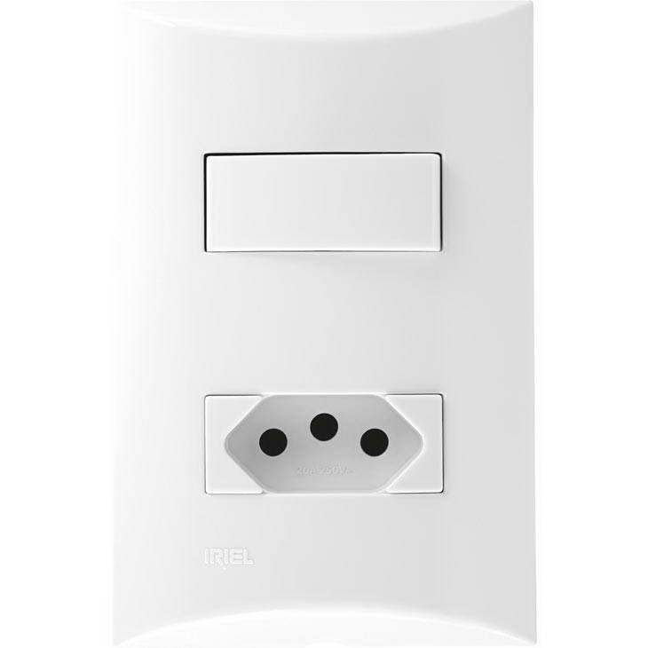 Interruptor Simples + Tomada Conjunto Iriel Brava Novo Padrão, 4x2, Branco
