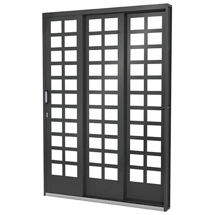 Porta Janela de Aço Vitrô Ramassol Fortsol, abertura a esquerda, 152 x 215 cm - 619014