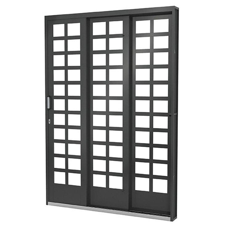 Porta Janela de Aço Vitrô Ramassol Fortsol, abertura a esquerda, 200 x 215 cm - 619024