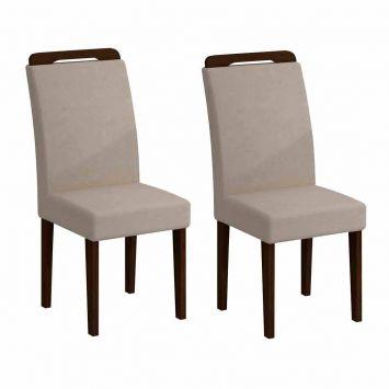 Conjunto de 2 Cadeiras de Jantar Athenas Castor Veludo Creme