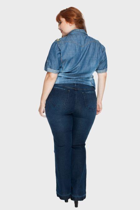 Calça Flare Belatrix com Bordado Plus Size - Azul-46