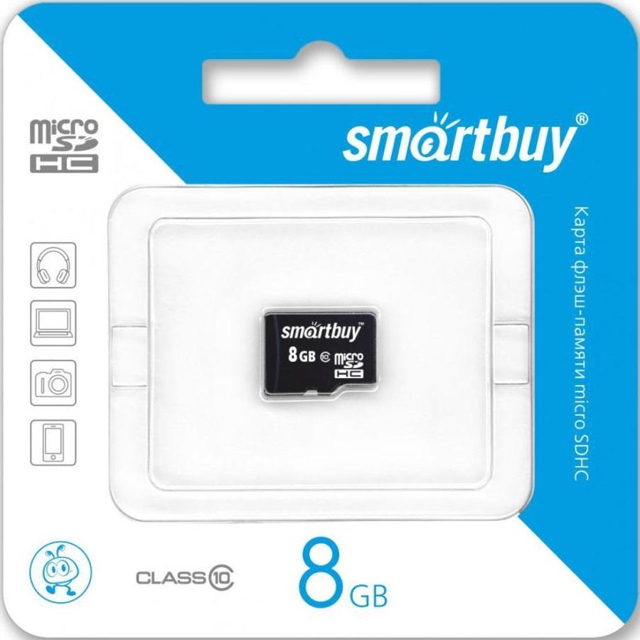 Карта памяти MicroSDHC Smartbuy 8Gb Class10без адаптера