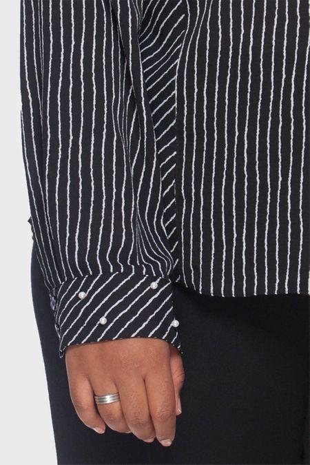 Camisa Stroke Listrada Pérola Plus Size
