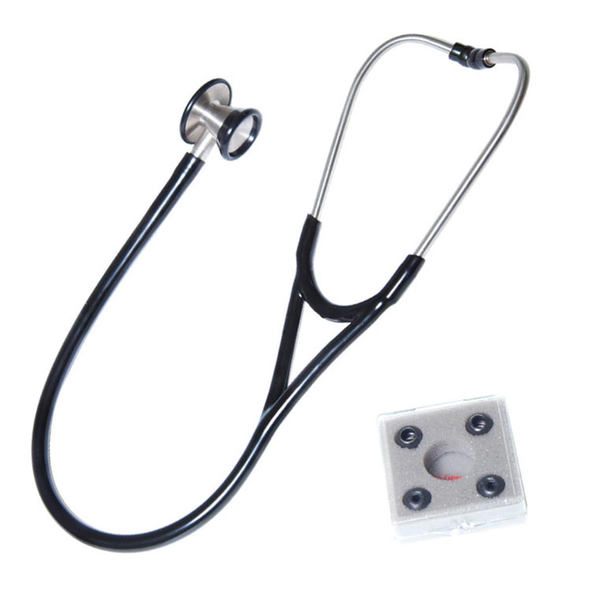 """Estetoscópio Cardiológico Premium Accumed """"Tipo Littmann"""" - Preto"""