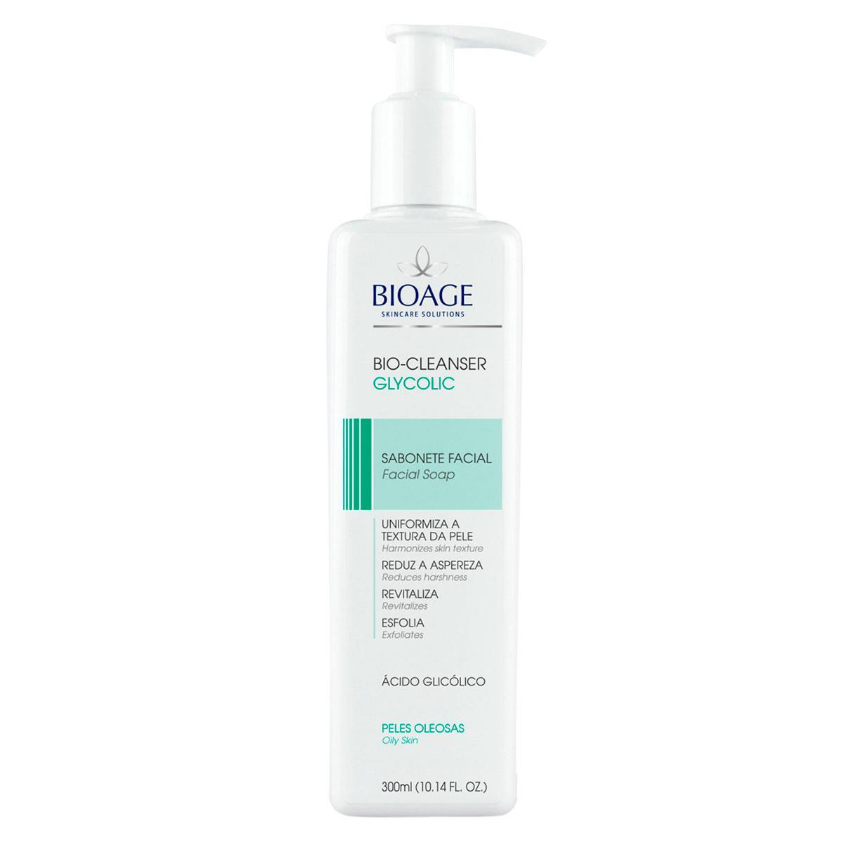 Sabonete Líquido Facial Para Limpeza Profunda Da Pele Bioage - Linha Bio Cleanser Glycolic - 300Ml