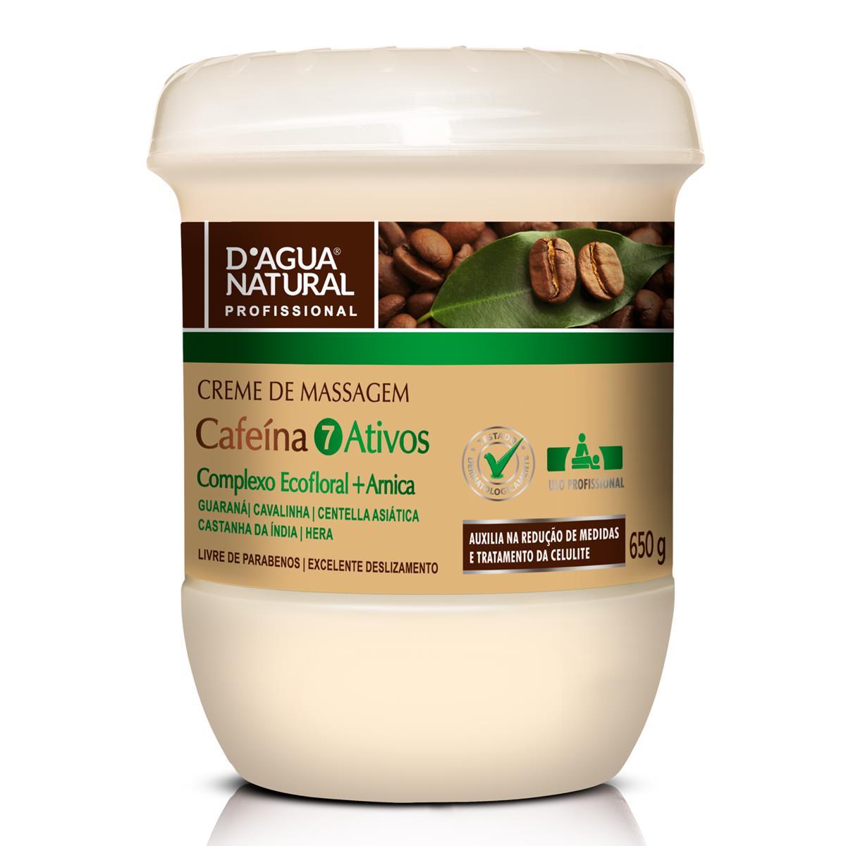 Creme De Massagem Cafeína 7 Ativos - Complexo Eco-Floral E Arnica Para Redução De Medidas E Celulite 650G - D´Agua Natural