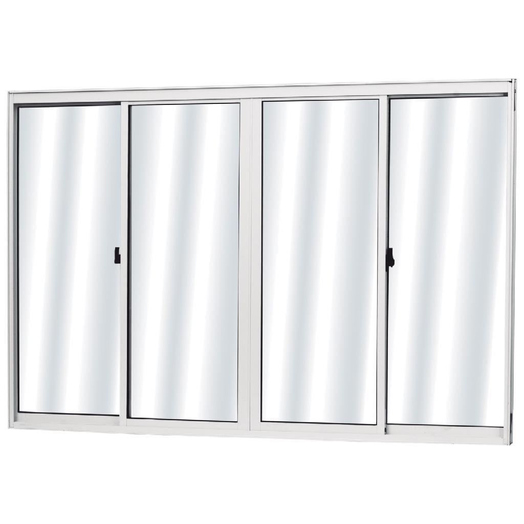 Vitrô Alumínio 100X120X7,7 Soft Branco 4Folhas Sem Grade 02040137007601 Mgm