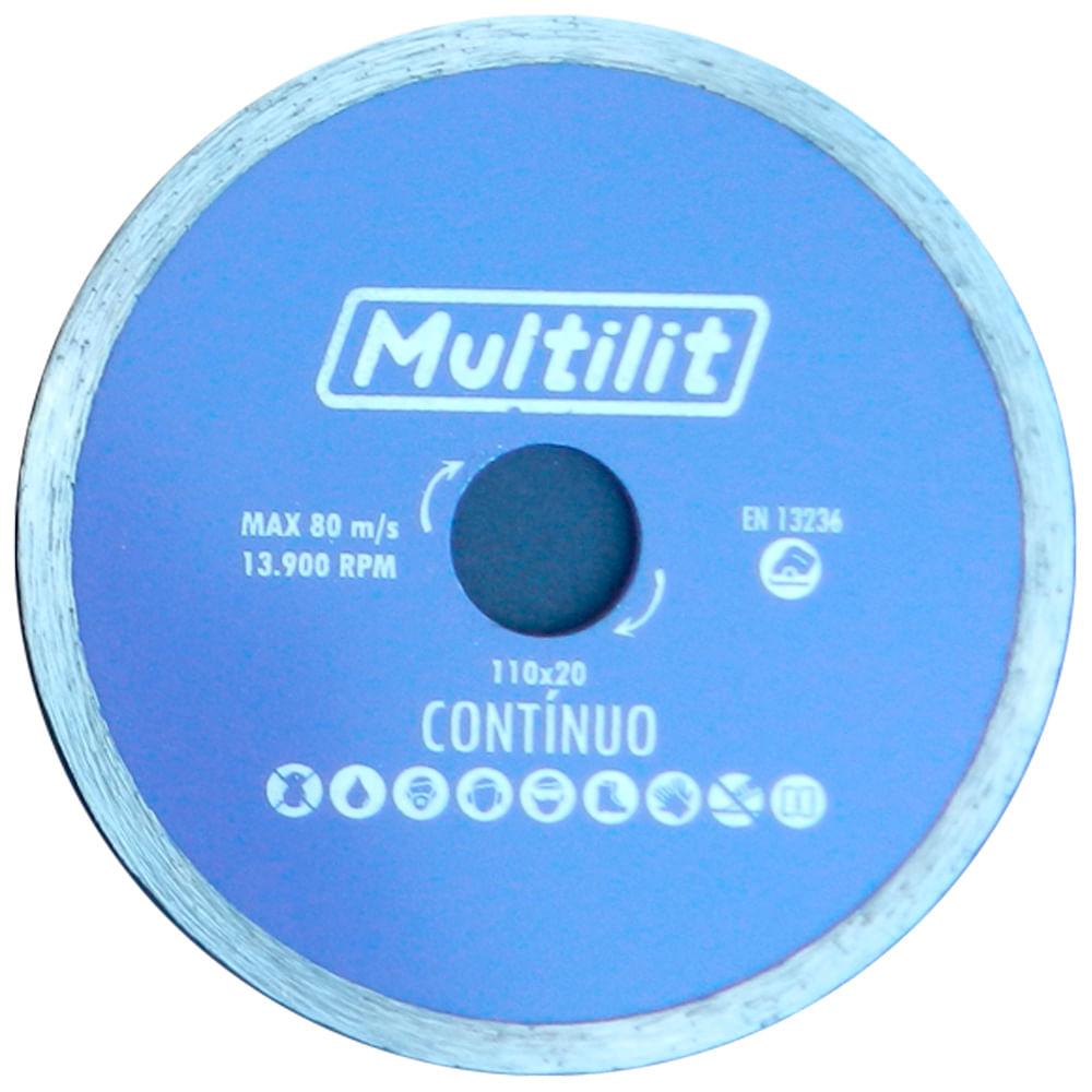 Disco Corte Diamantado 100X20MM Liso Contínuo 1480 Multilit