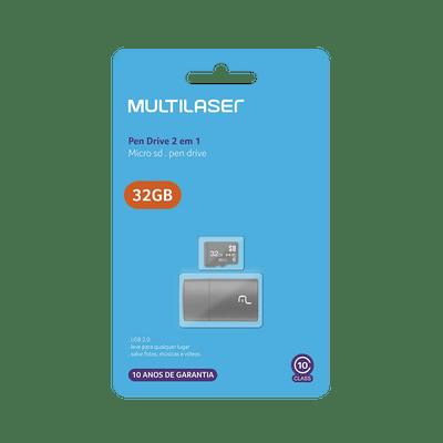 Pendrive + Micro SD 32GB Multilaser MC163