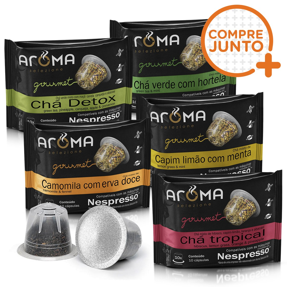 Kit Cápsulas de Chá Aroma - Compatíveis com Nespresso® - 50 un.