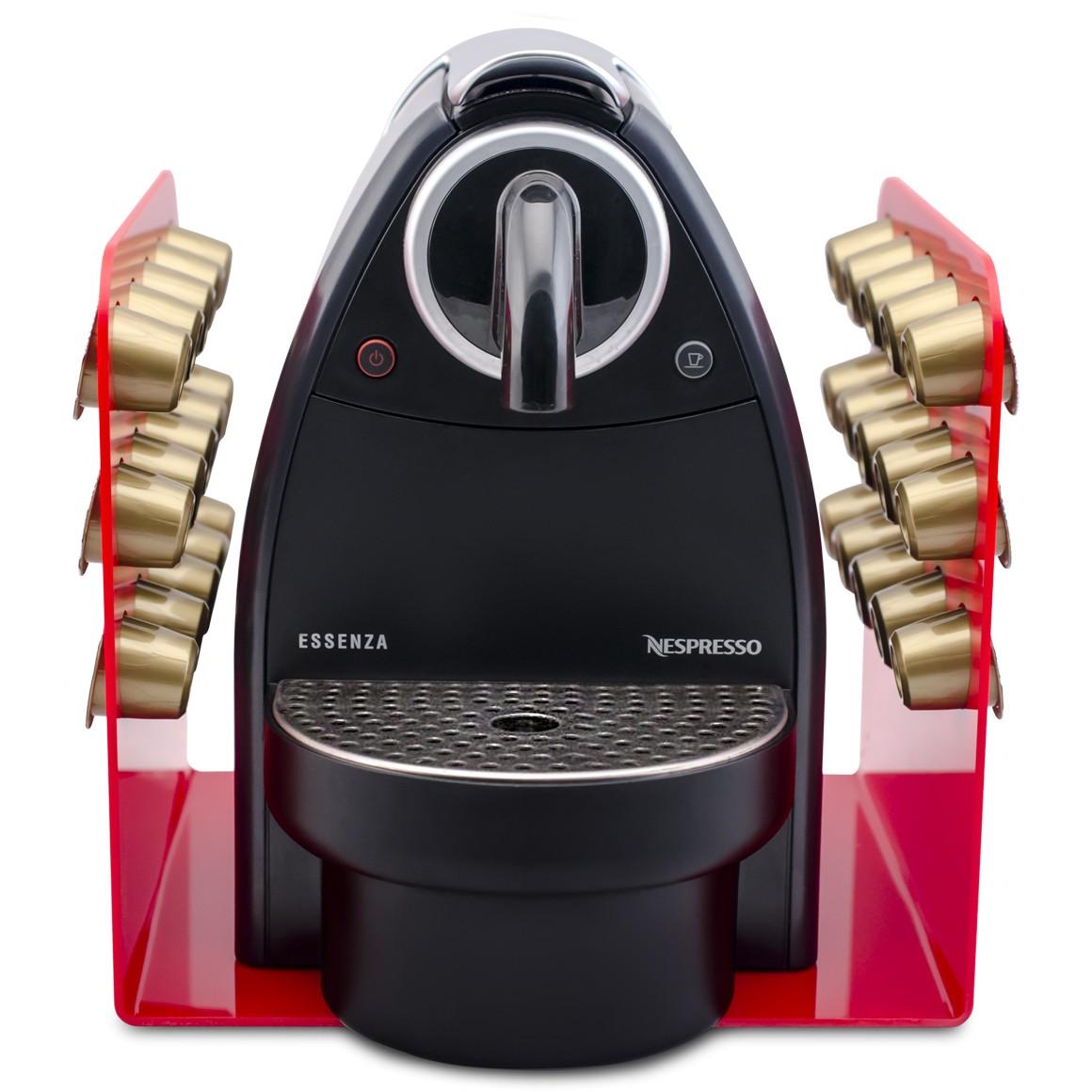Porta Cápsula Acrílico - Compatível com Cápsulas Nespresso® - Vermelho - 30 un.