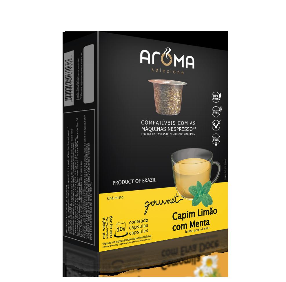 Cápsulas de Chá Capim-Limão com Menta Aroma - Compatíveis com Nespresso® - 10 un.