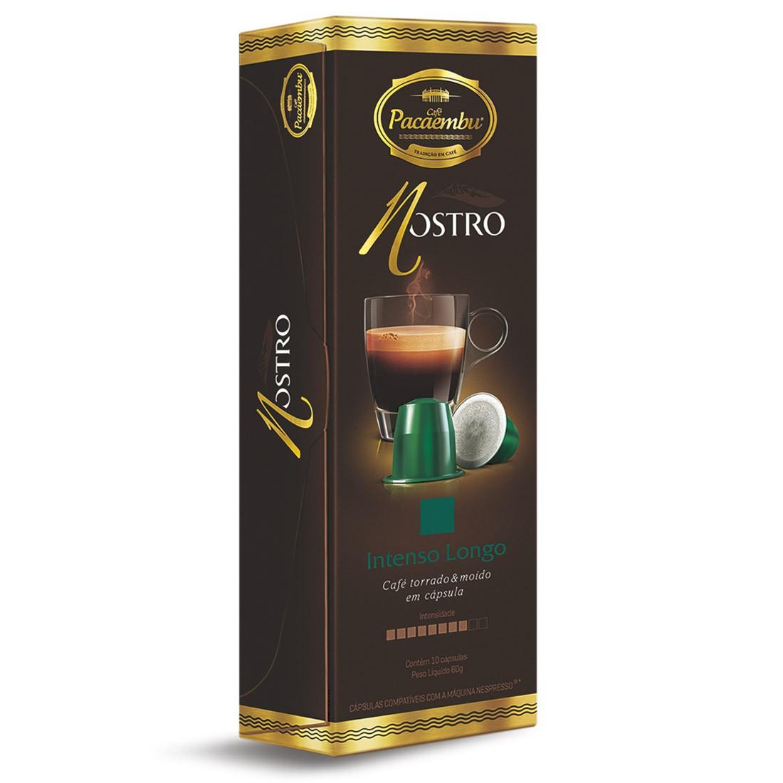 Cápsulas de Café Pacaembu Nostro Intenso Longo - Compatíveis com Nespresso® - 10 un.