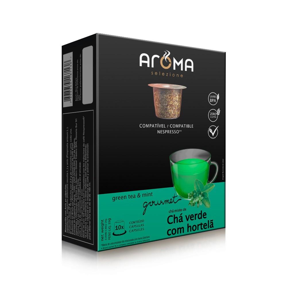 Cápsulas de Chá Chá Verde com Hortelã Aroma - Compatíveis com Nespresso® - 10 un.