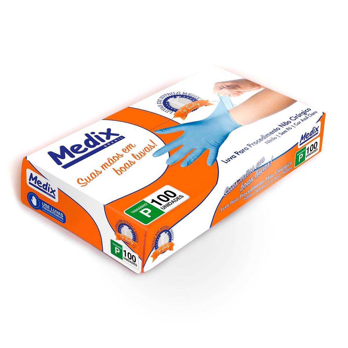 Luva Nitrílica Sem Pó Descartável Para Procedimento Não Cirúrgico Azul - Cx C/ 100Un - Medix