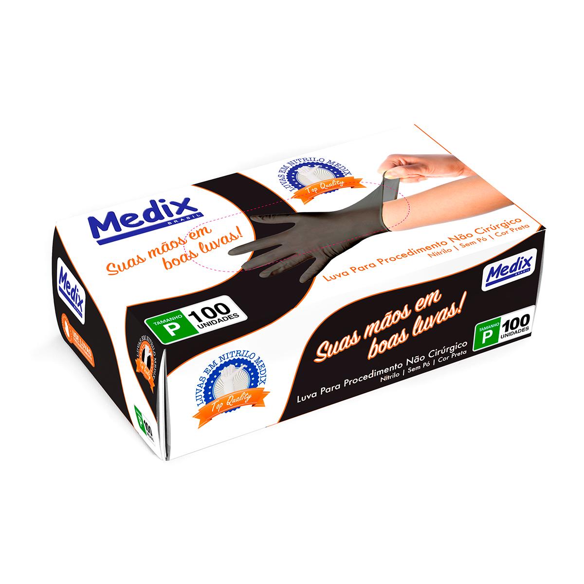 Luva Nitrílica Sem Pó Descartável Para Procedimento Não Cirúrgico Preta - Cx C/ 100Un - Medix