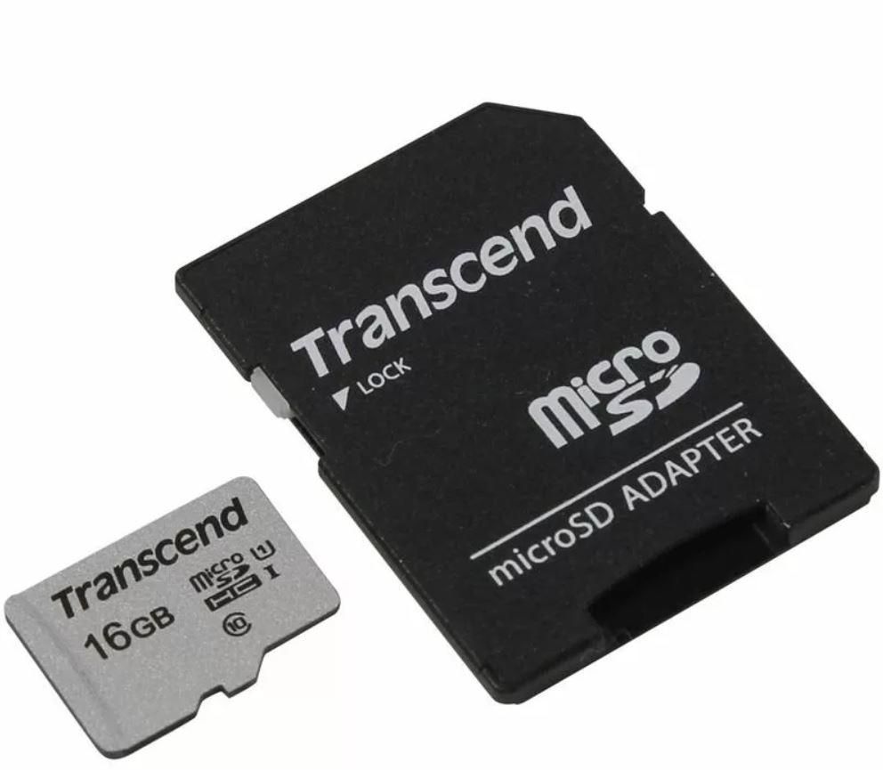 Карта Памяти micro SDHC 16Gb Transcend 300S UHS-I U1 + ADP (90/45 Mb/s)