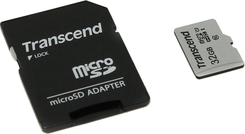 Карта Памяти micro SDHC 32Gb Transcend 300S UHS-I U1 + ADP (90/45 Mb/s)