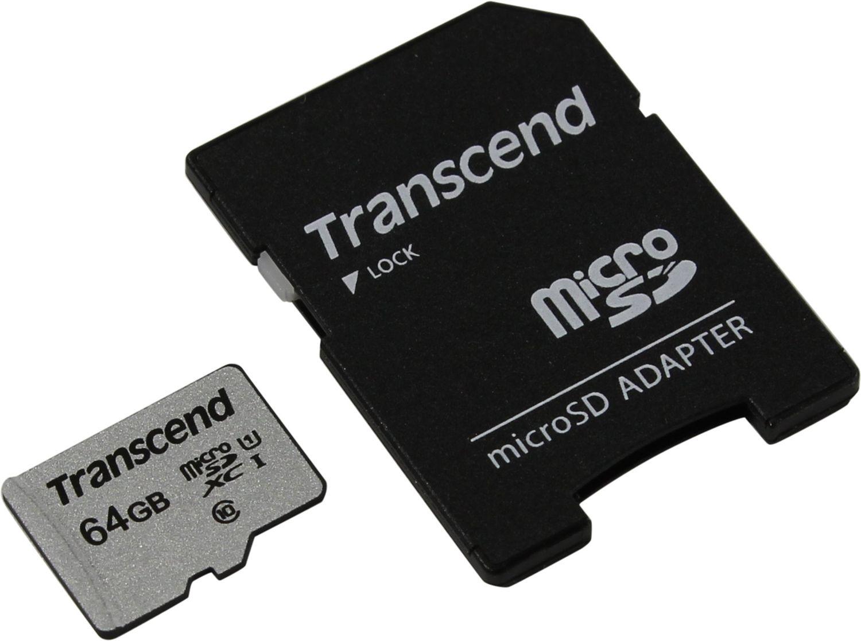 Карта Памяти micro SDXC 64Gb Transcend 300S UHS-I U1 + ADP (90/45 Mb/s)