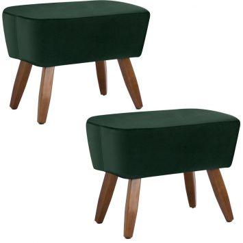 Kit 02 Puffs Decorativos Sala de Estar Pés de Madeira Naomi Veludo Verde - Gran Belo