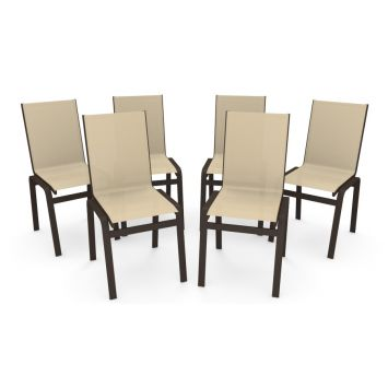 kIT 6 Cadeira Jantar Gourmet Alumínio Marrom Tela Bege