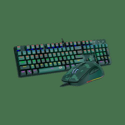 Kit Gamer Redragon Hunter S108 ABNT-2 Teclado Mecânico Rainbow E Mouse RGB - Light Green