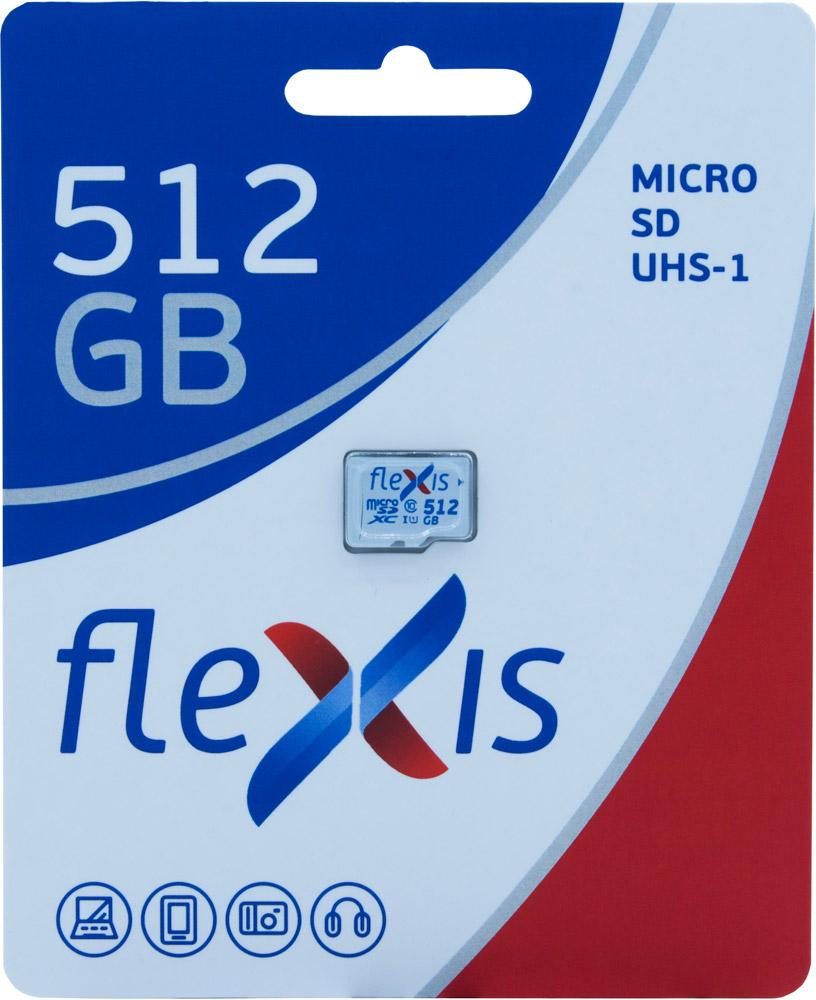 Карта памяти MicroSDHC FLEXIS 512GB Class10без адаптера UHS-I White