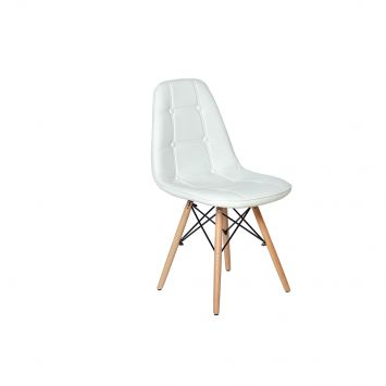 Cadeira Dkr Charles Eames Wood Estofada Botonê - Branca